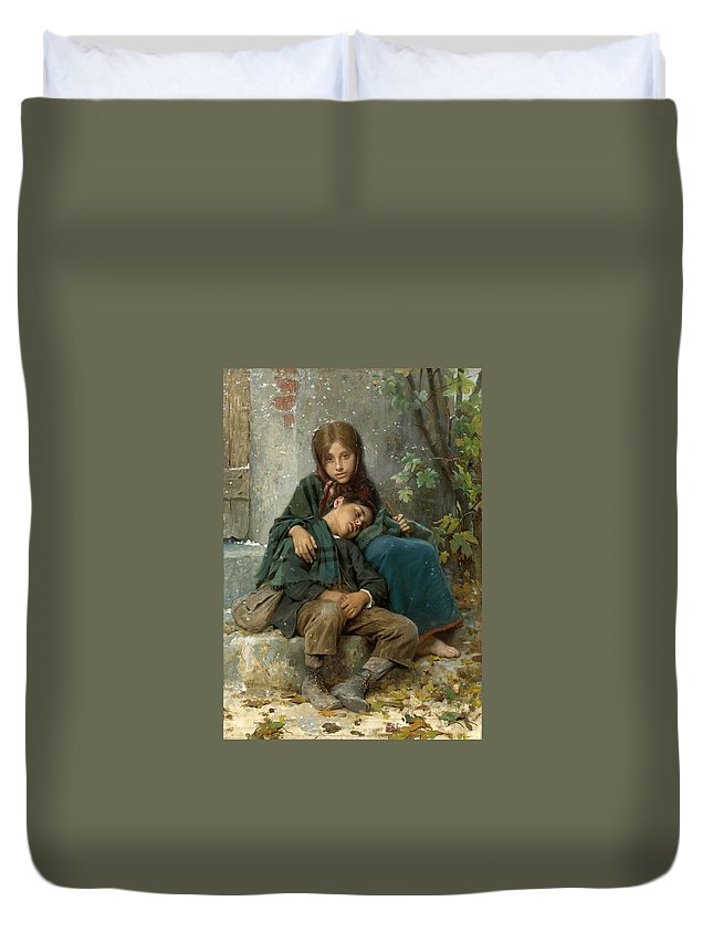 Leon Perrault Duvet Cover featuring the painting Out In The Cold by Leon Perrault