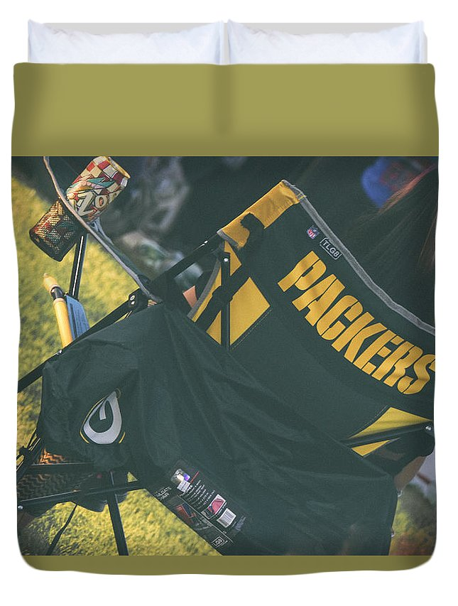 Packers Duvet Cover featuring the photograph Packers Fan by Marit Runyon
