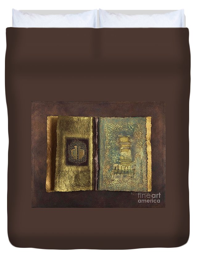 Artist-book Duvet Cover featuring the mixed media Page Format No 1 Transitional Series by Kerryn Madsen-Pietsch