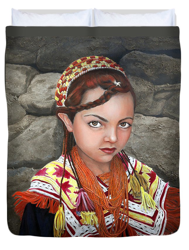 Figurative Art Duvet Cover featuring the painting Pakistani Girl by Portraits By NC