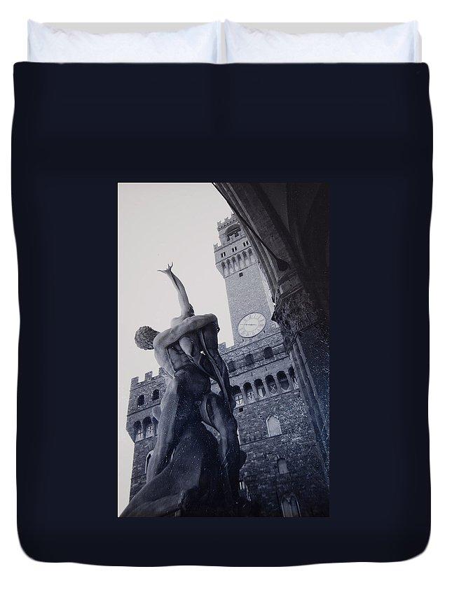 Florence Duvet Cover featuring the photograph Palazzo Vecchio by Kurt Hausmann