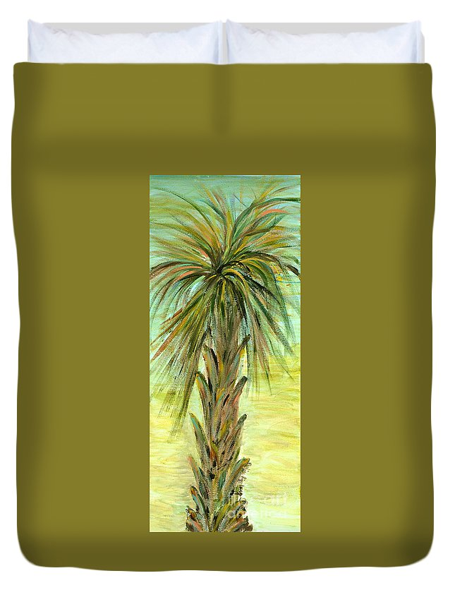 Tree Duvet Cover featuring the painting Palm Tree by Nadine Rippelmeyer