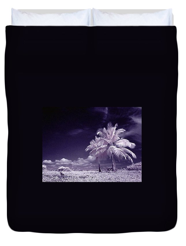 Infrared Duvet Cover featuring the photograph Palms by Galeria Trompiz