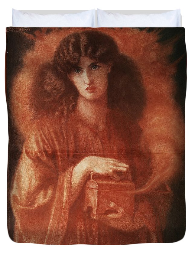 Pandora Duvet Cover featuring the painting Pandora by Dante Charles Gabriel Rossetti