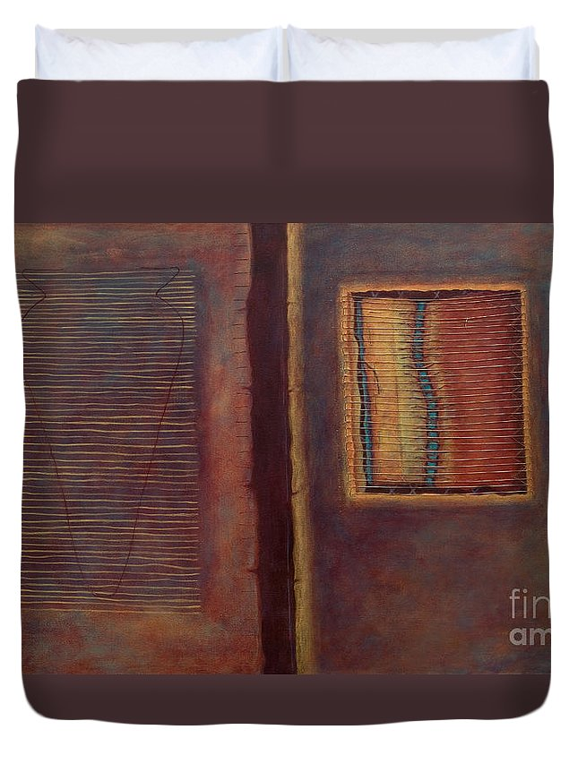 Connections Duvet Cover featuring the painting Parallels by Kerryn Madsen-Pietsch