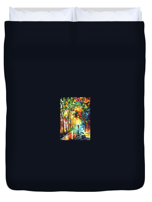 Landscape Duvet Cover featuring the painting Park by Leonid Afremov