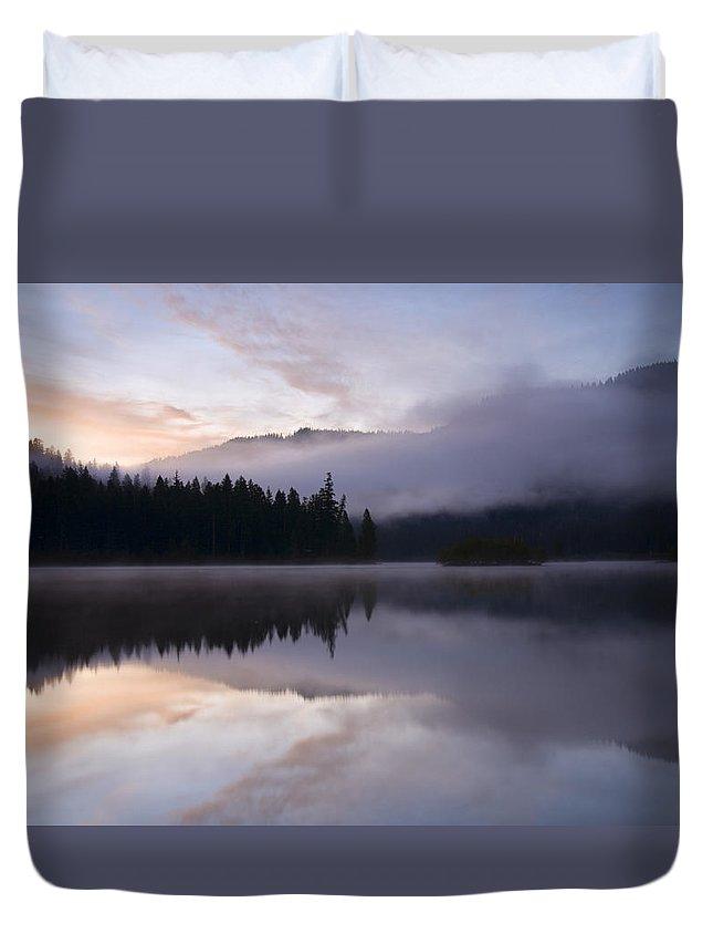 Fog Duvet Cover featuring the photograph Pastel Dawn by Mike Dawson