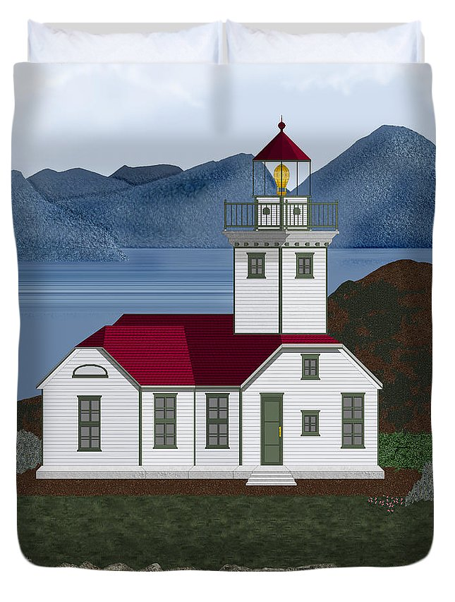 Patos Island Lighthouse Duvet Cover featuring the painting Patos Island Lighthouse by Anne Norskog