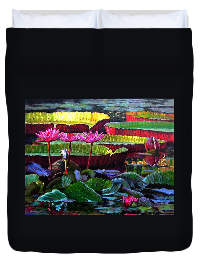 Water Lilies Duvet Cover featuring the painting Patterns Of Color And Light by John Lautermilch