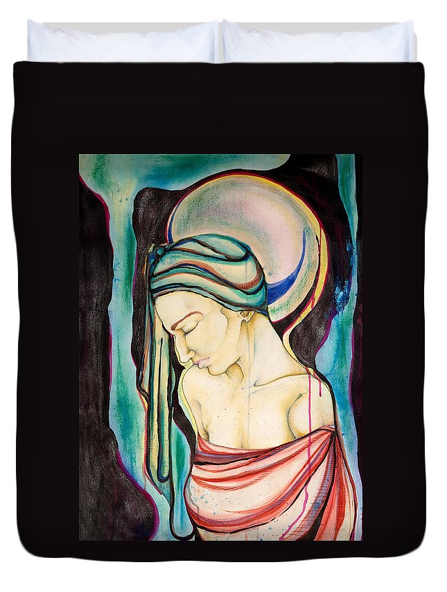Peace Duvet Cover featuring the painting Peace Beneath The City by Sheridan Furrer