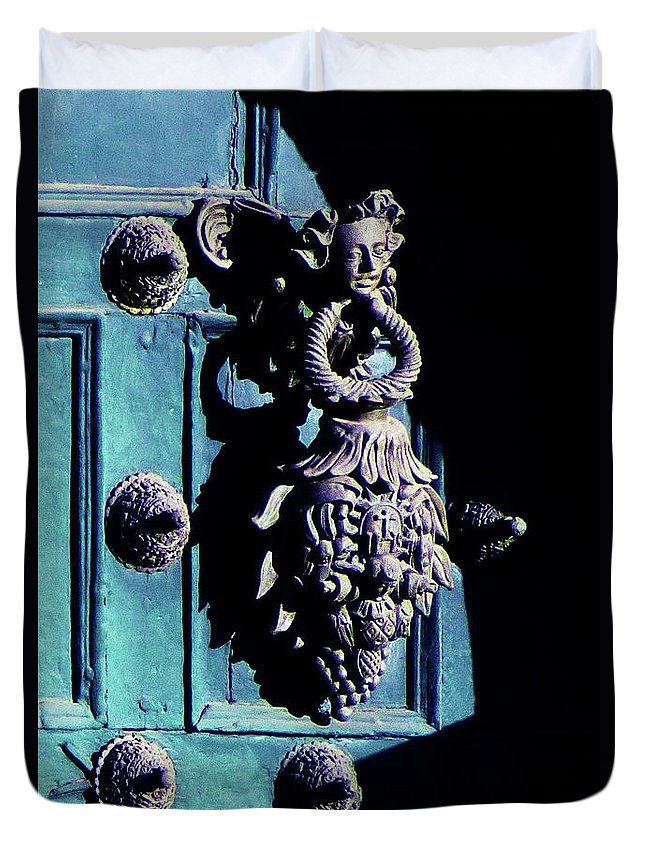Inca Duvet Cover featuring the photograph Peruvian Door Decor 6 by Xueling Zou