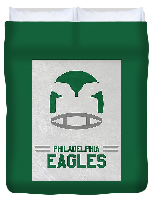 Eagles Duvet Cover featuring the mixed media Philadelphia Eagles Vintage Art by Joe Hamilton