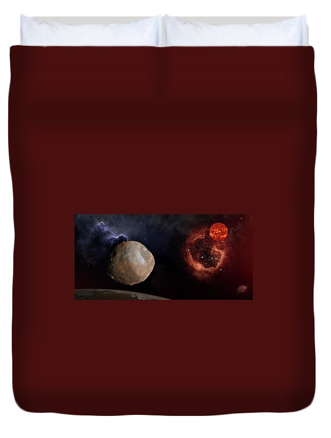 Centaurus Duvet Cover featuring the photograph Phobos In The Space Over Mars by Alain De Maximy