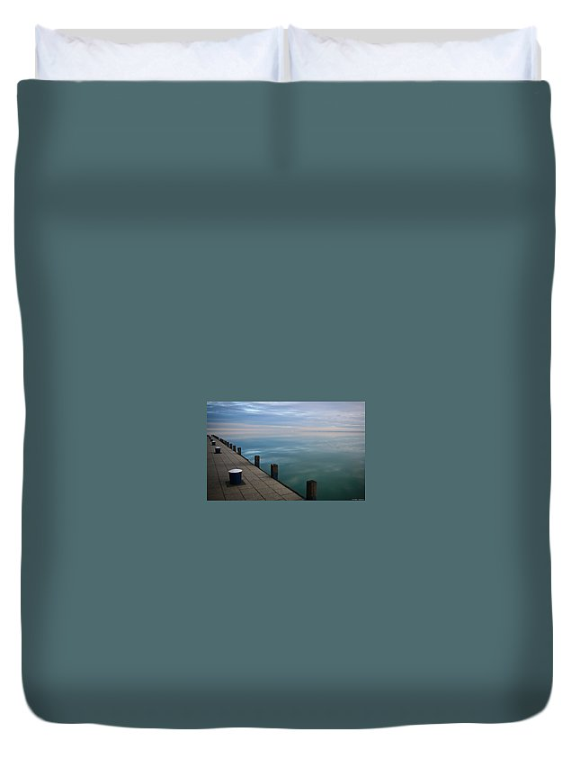 Pier Duvet Cover featuring the digital art Pier by Dorothy Binder