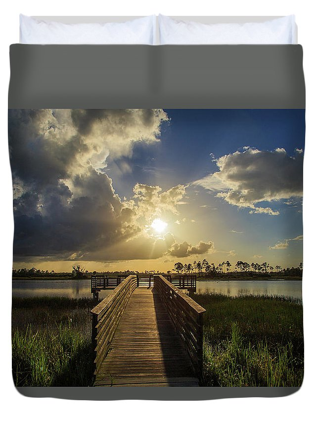 Florida Duvet Cover featuring the photograph Pine Glades Sunset by Stefan Mazzola
