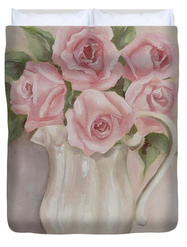 Shabby Chic Roses Duvet Cover featuring the painting Pitcher Of Roses by Chris Hobel
