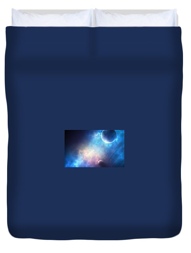 Planets Duvet Cover featuring the digital art Planets by Dorothy Binder