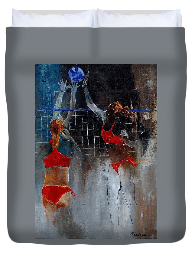 Sport Duvet Cover featuring the painting Playing Volley by Pol Ledent
