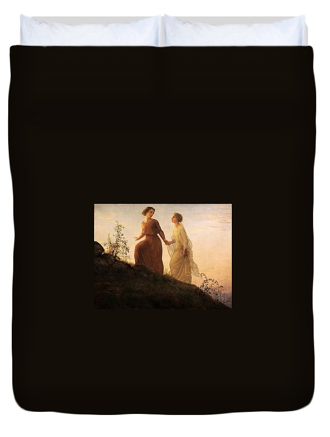Louis Janmot - Poem Of The Soul 14 - On The Mountain Duvet Cover featuring the painting Poem Of The Soul by MotionAge Designs