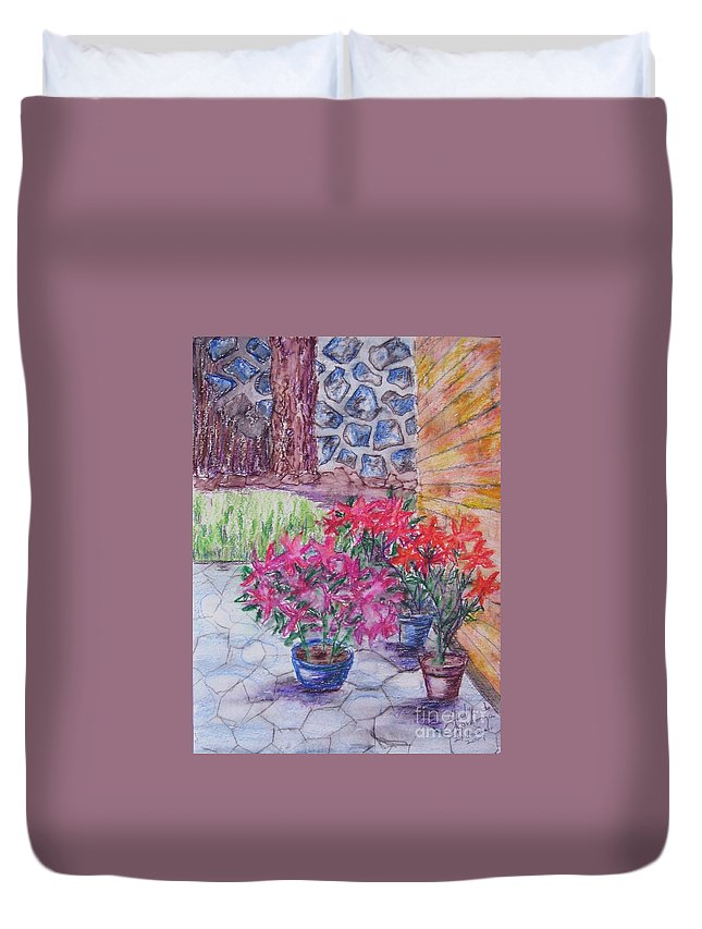 Poinsettias Duvet Cover featuring the painting Poinsettias - Gifted by Judith Espinoza