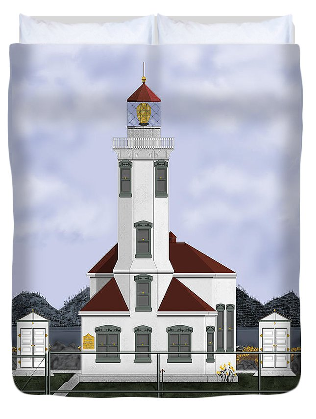 Lighthouse Duvet Cover featuring the painting Point Wilson Lighthouse by Anne Norskog