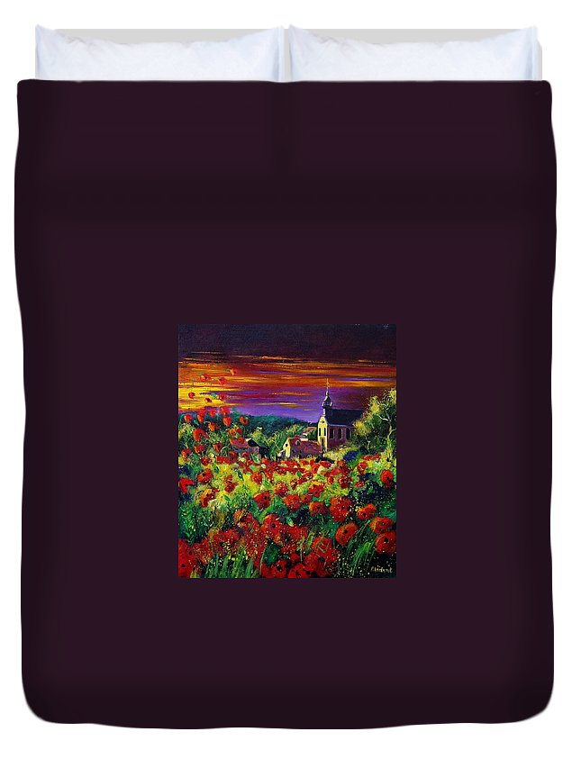 Flowers Duvet Cover featuring the painting Poppies In Foy by Pol Ledent
