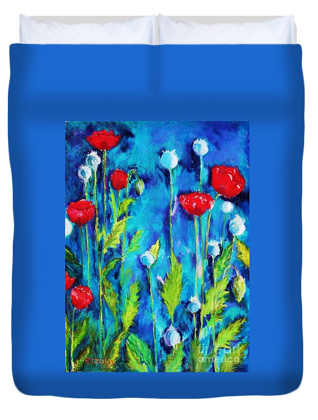 Poppies Duvet Cover featuring the painting Poppies by Melinda Etzold