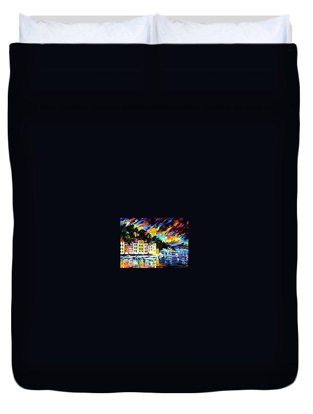 Afremov Duvet Cover featuring the painting Portofino Harbor - Italy by Leonid Afremov