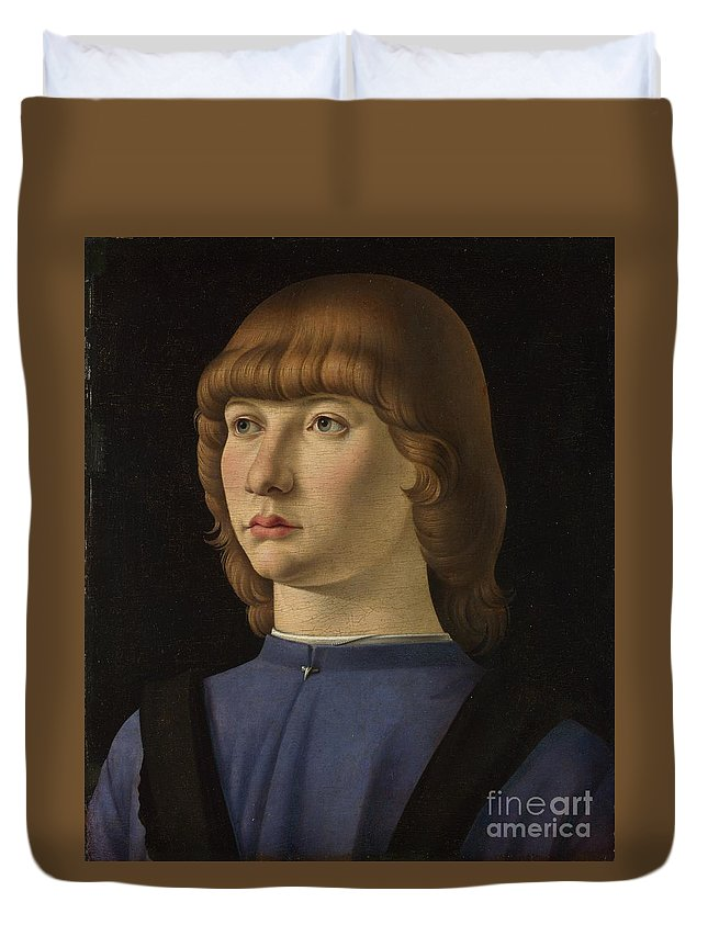 Jacometto Veneziano Duvet Cover featuring the painting Portrait Of A Boy by Celestial Images