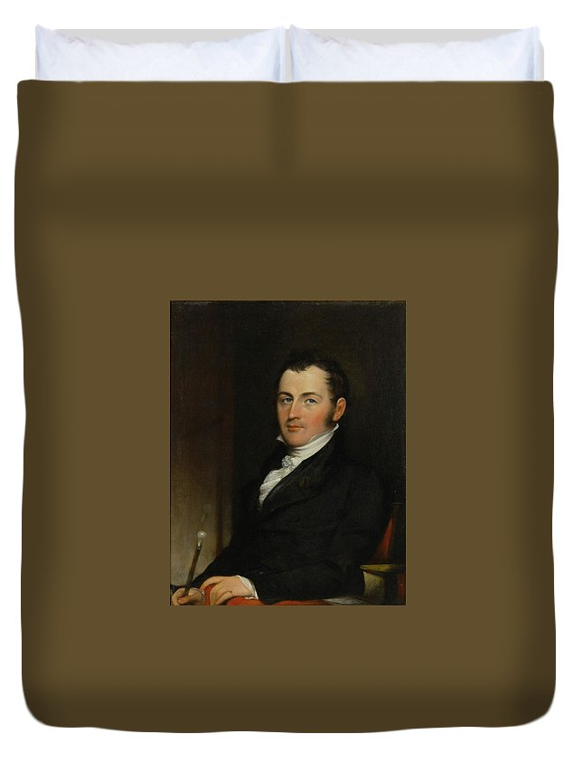John Trumbull (1756 - 1843) Portrait Of George Gallagher Duvet Cover featuring the painting Portrait Of George Gallagher by John Trumbull