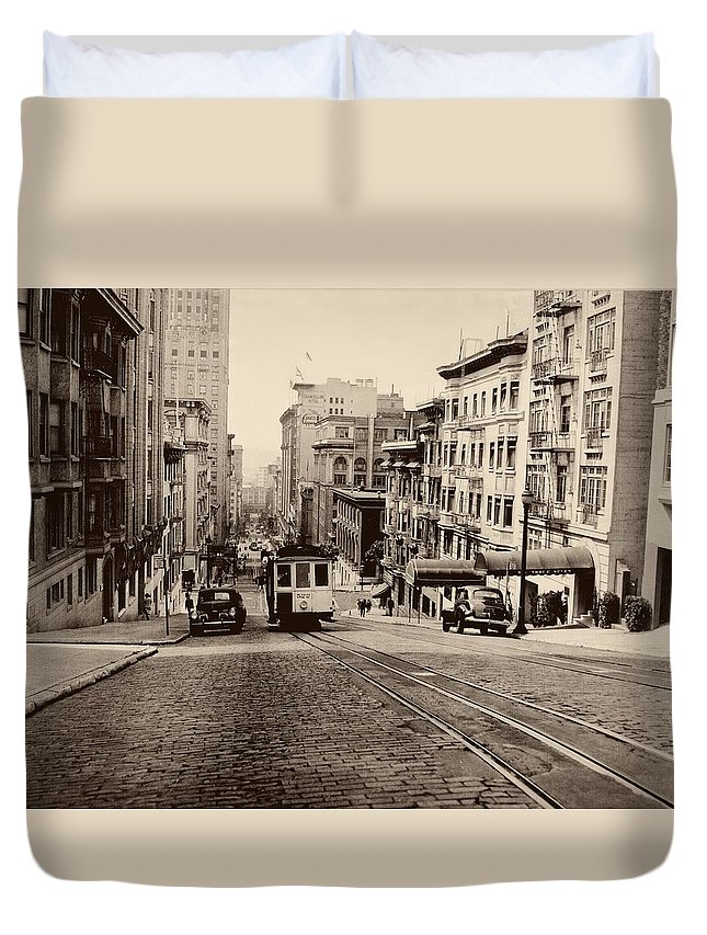 Cityscape Duvet Cover featuring the photograph Powell Street Hill - San Francisco 1945 by Mountain Dreams
