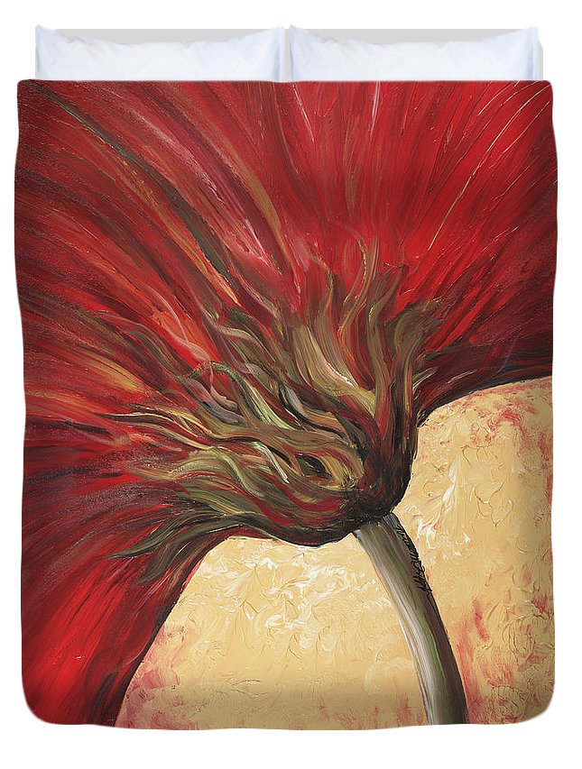 Floral Duvet Cover featuring the painting Power Of Red by Nadine Rippelmeyer