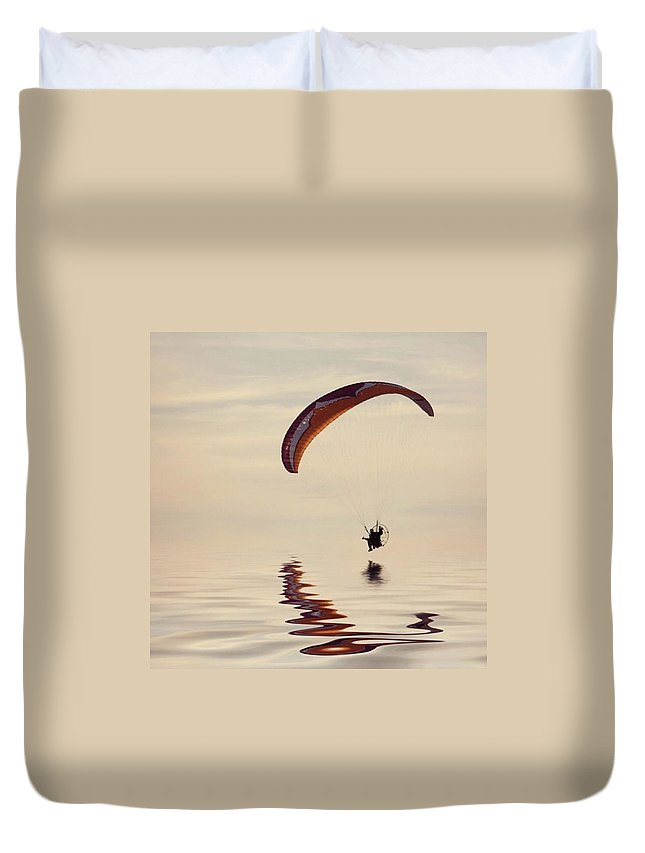 Flyinghigh Duvet Cover featuring the photograph Powered Paraglider by John Edwards