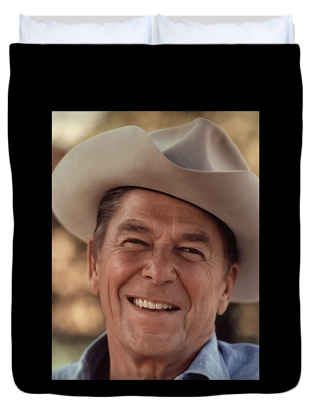 Ronald Reagan Duvet Cover featuring the photograph President Ronald Reagan 5 by War Is Hell Store