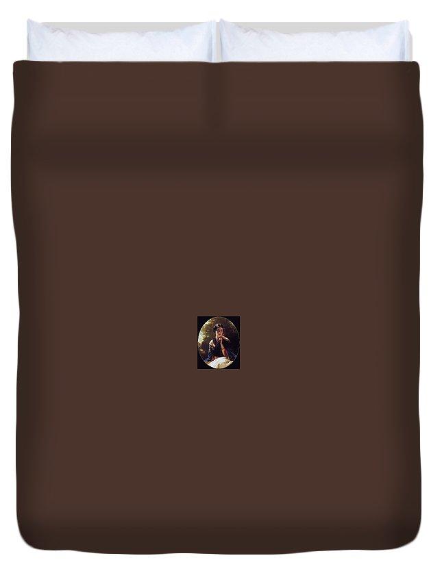Gong Duvet Cover featuring the digital art Princess Leonilla Of Sayn-wittgenstein Franz Xavier Winterhalter by Eloisa Mannion