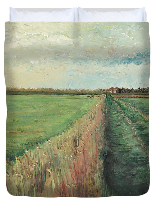 Provence Duvet Cover featuring the painting Provence Villa by Nadine Rippelmeyer