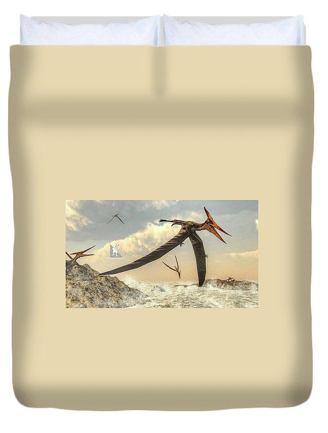 Dinosaur Duvet Cover featuring the digital art Pteranodon Birds Flying - 3d Render by Elenarts - Elena Duvernay Digital Art