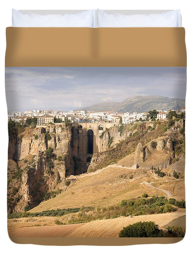 Ronda Duvet Cover featuring the photograph Puente Nuevo Tajo De Ronda Andalucia Spain Europe by Mal Bray