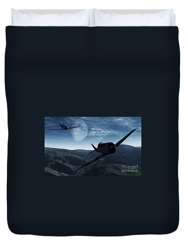 Dogfight Duvet Cover featuring the digital art Pursuit Of The Fox by Richard Rizzo
