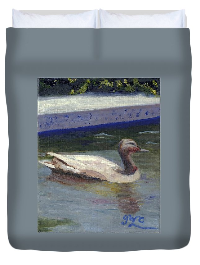 Duck Duvet Cover featuring the painting Quacker by Gloria Condon