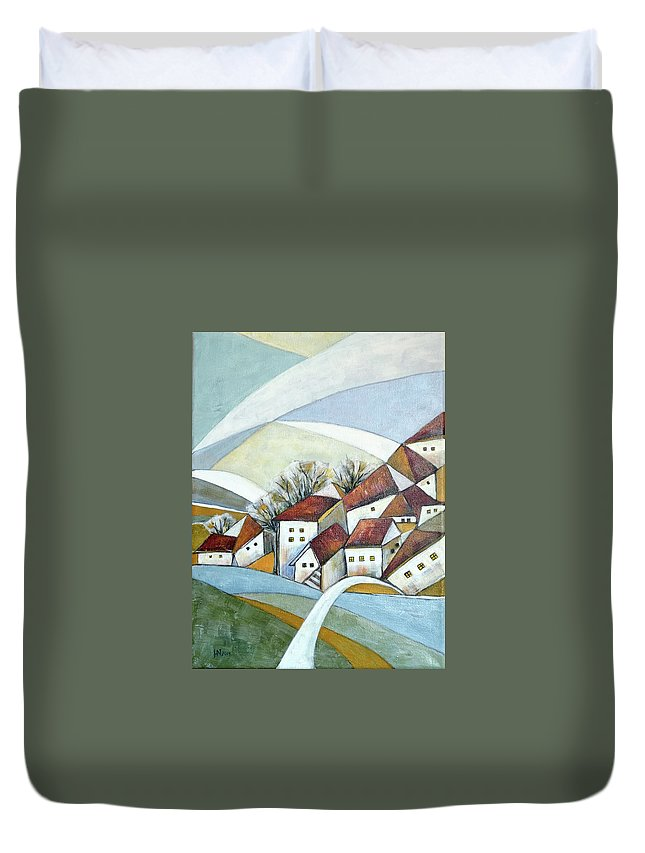 Abstract Duvet Cover featuring the painting Quiet Village by Aniko Hencz