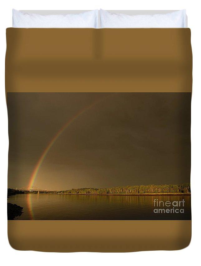 Rainbow Duvet Cover featuring the photograph Rainbow Over Sagamore Bridge, Cape Cod by Michelle Himes