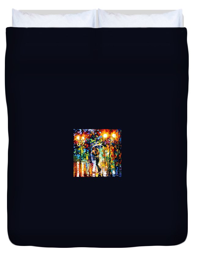 Afremov Duvet Cover featuring the painting Rainy Dance by Leonid Afremov
