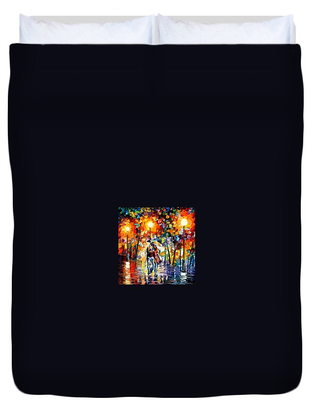 Afremov Duvet Cover featuring the painting Rainy Evening by Leonid Afremov