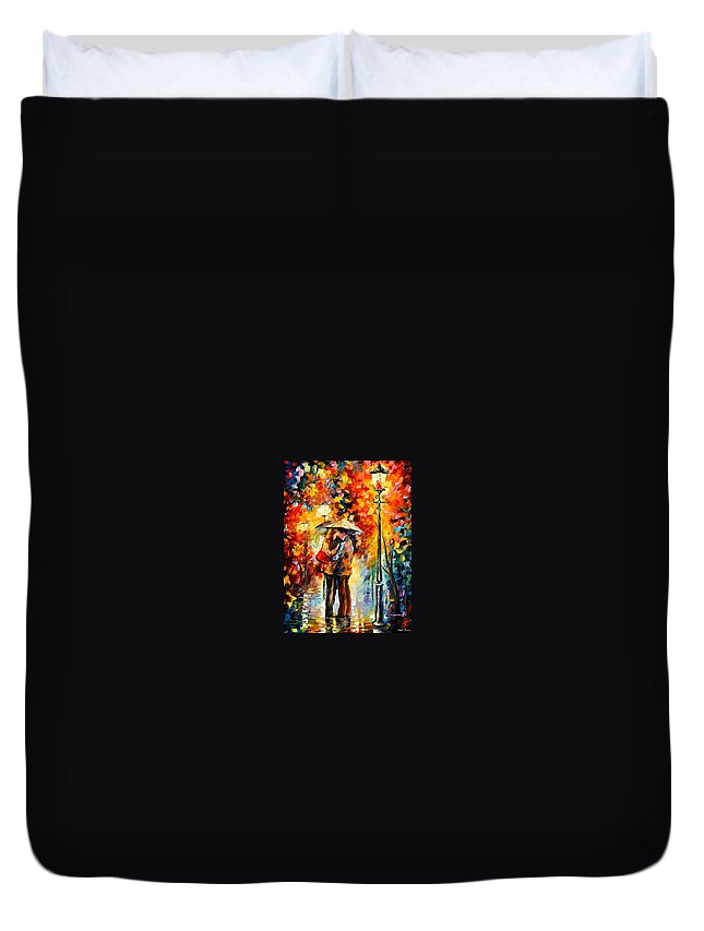 Woman Duvet Cover featuring the painting Rainy Kiss by Leonid Afremov
