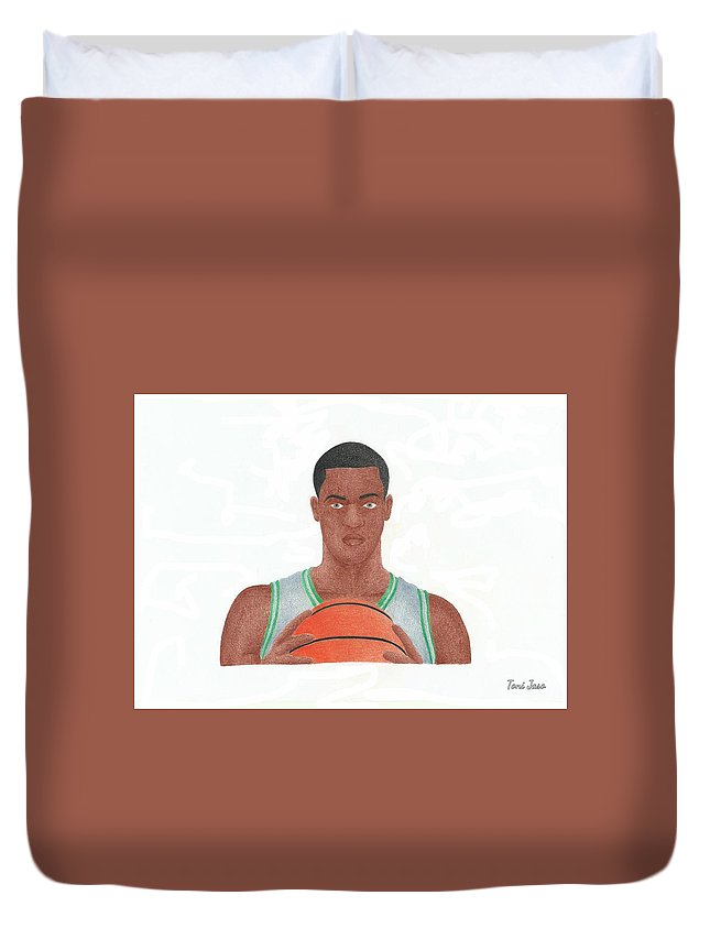 Basketball Duvet Cover featuring the drawing Rajon Rondo by Toni Jaso