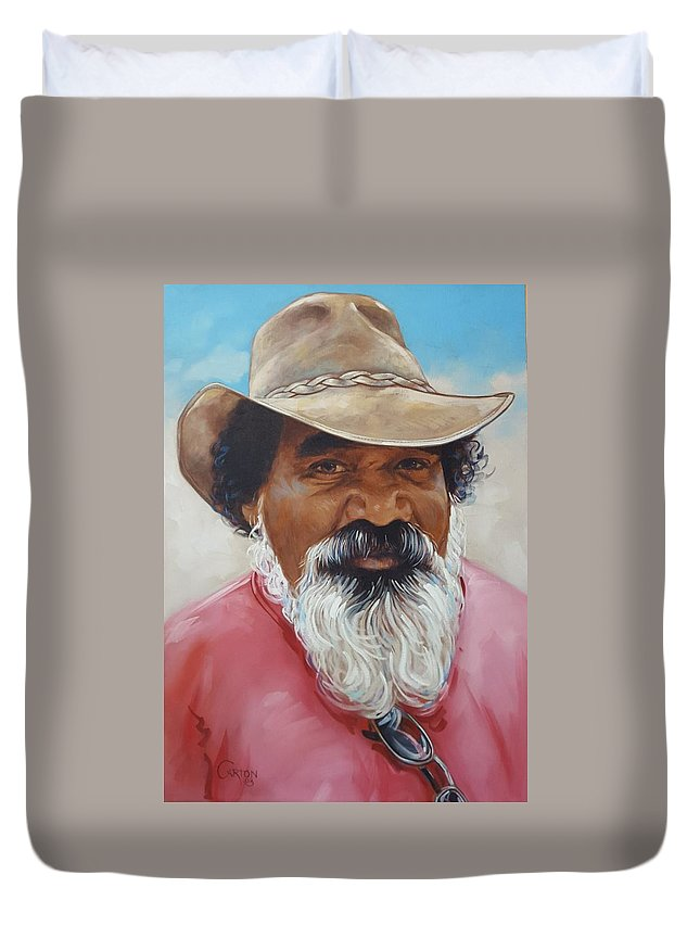 Portrait Of A Man Of Aboriginal Descent Who Immigrated To The Us And Worked In Missouri Duvet Cover featuring the painting Ralph by Jerrold Carton