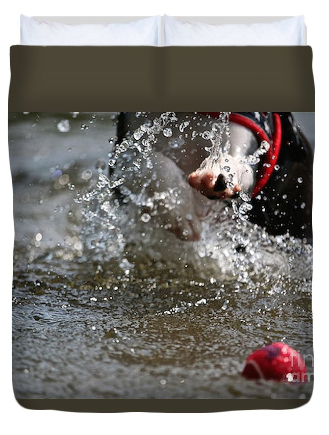 Boston Terrier Duvet Cover featuring the photograph Reaching For It by Susan Herber
