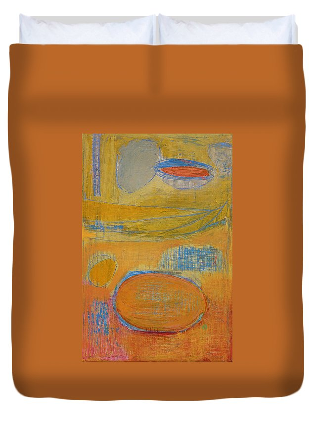 Abstract Duvet Cover featuring the painting Rebirth by Habib Ayat