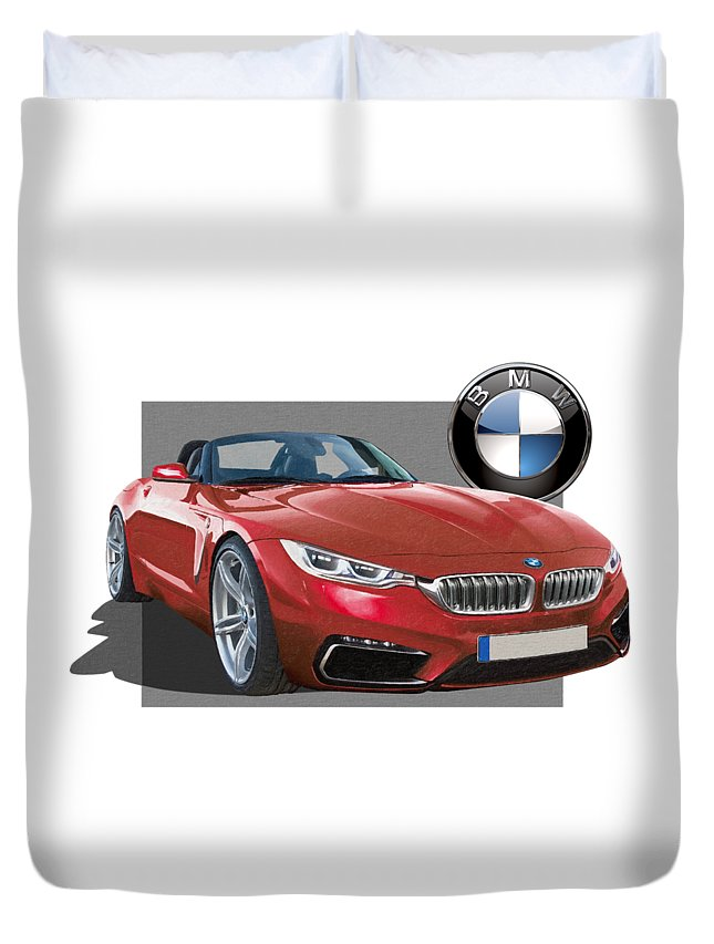 �bmw� Collection By Serge Averbukh Duvet Cover featuring the photograph Red 2018 B M W Z 5 with 3 D Badge by Serge Averbukh
